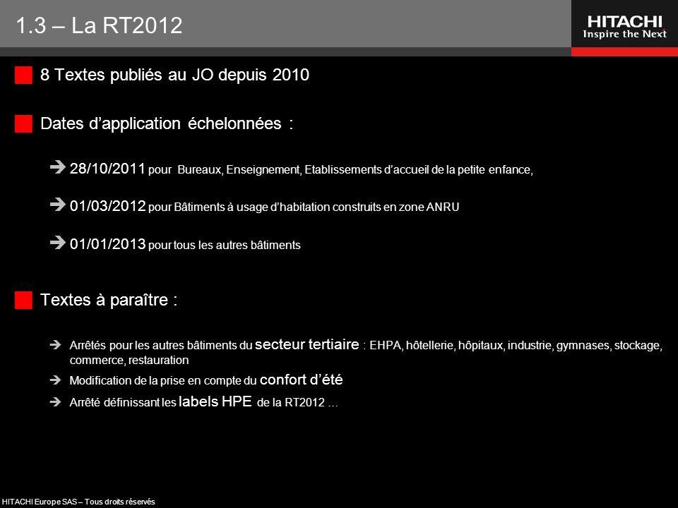 HITACHI Europe SAS – Tous droits réservés  8 Textes publiés au JO depuis 2010  Dates d'application échelonnées :  28/10/2011 pour Bureaux, Enseigne