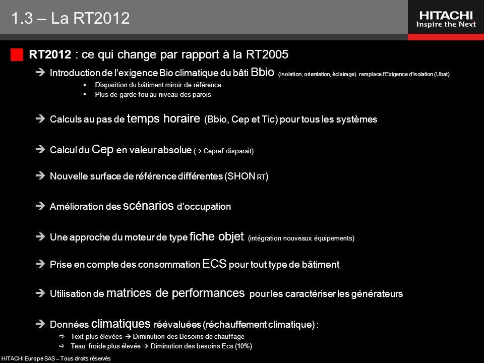 HITACHI Europe SAS – Tous droits réservés  RT2012 : ce qui change par rapport à la RT2005  Introduction de l'exigence Bio climatique du bâti Bbio (i