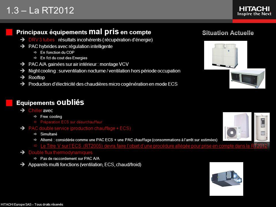 HITACHI Europe SAS – Tous droits réservés  Principaux équipements mal pris en compte  DRV 3 tubes : résultats incohérents ( récupération d'énergie)