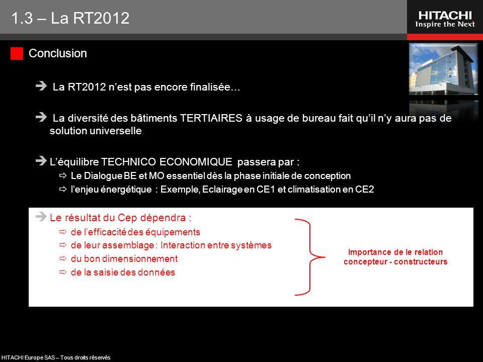 HITACHI Europe SAS – Tous droits réservés  Conclusion  La RT2012 n'est pas encore finalisée…  La diversité des bâtiments TERTIAIRES à usage de bure