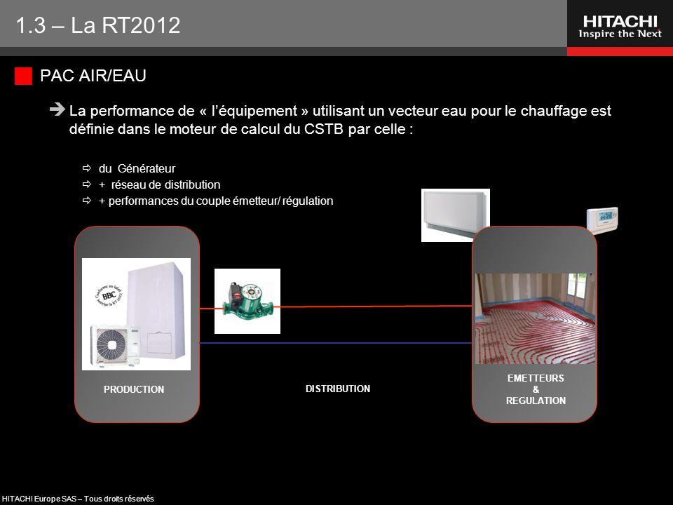 HITACHI Europe SAS – Tous droits réservés  PAC AIR/EAU  La performance de « l'équipement » utilisant un vecteur eau pour le chauffage est définie da