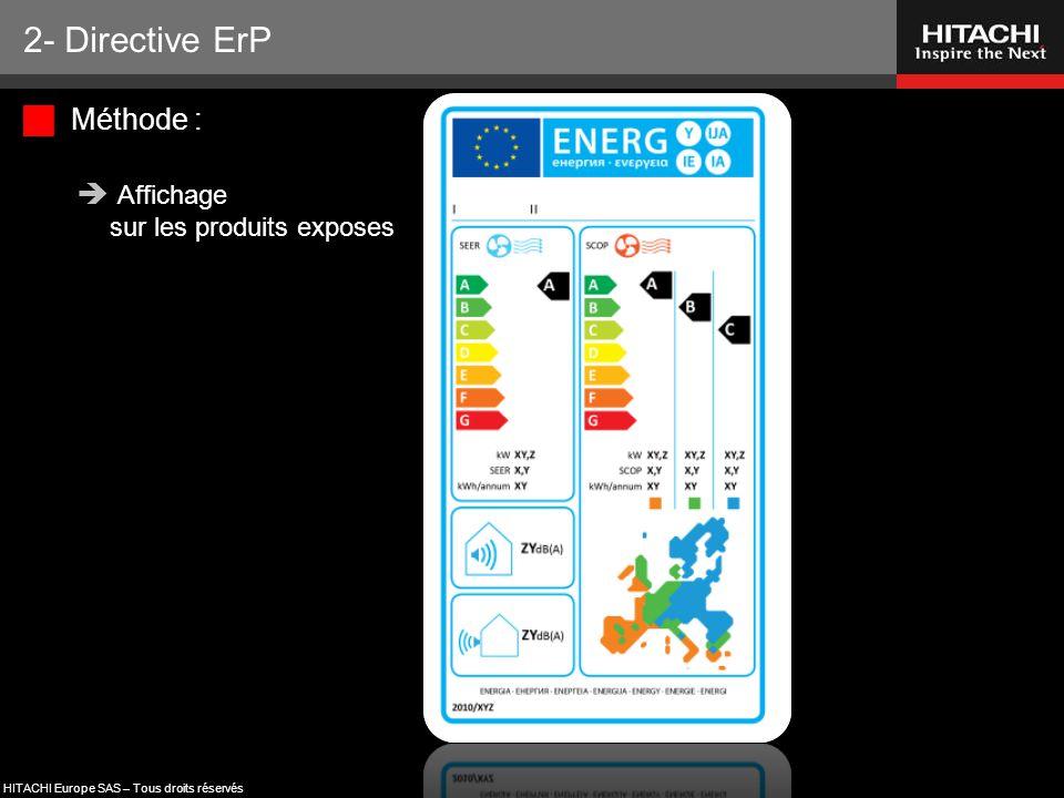 HITACHI Europe SAS – Tous droits réservés  Méthode :  Affichage sur les produits exposes 2- Directive ErP