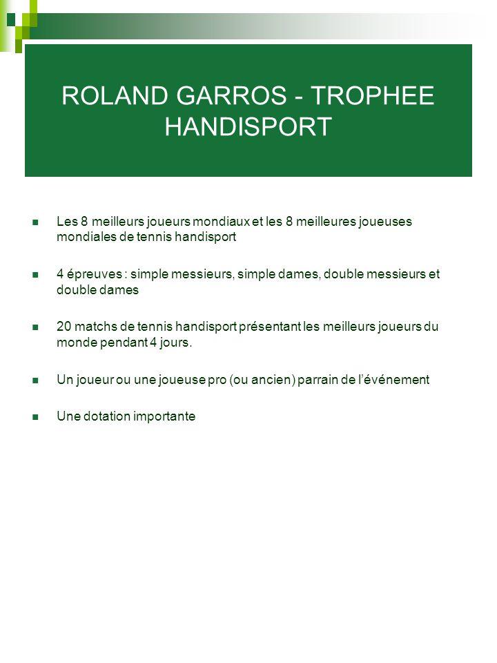 ROLAND GARROS - TROPHEE HANDISPORT Les 8 meilleurs joueurs mondiaux et les 8 meilleures joueuses mondiales de tennis handisport 4 épreuves : simple me