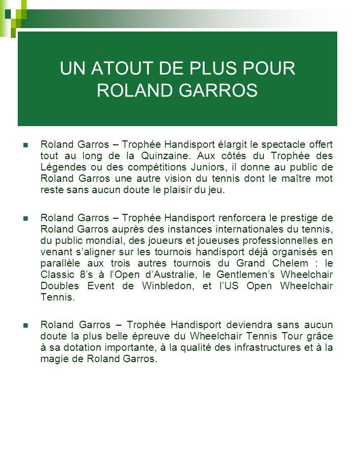 UN ATOUT DE PLUS POUR ROLAND GARROS Roland Garros – Trophée Handisport élargit le spectacle offert tout au long de la Quinzaine. Aux côtés du Trophée