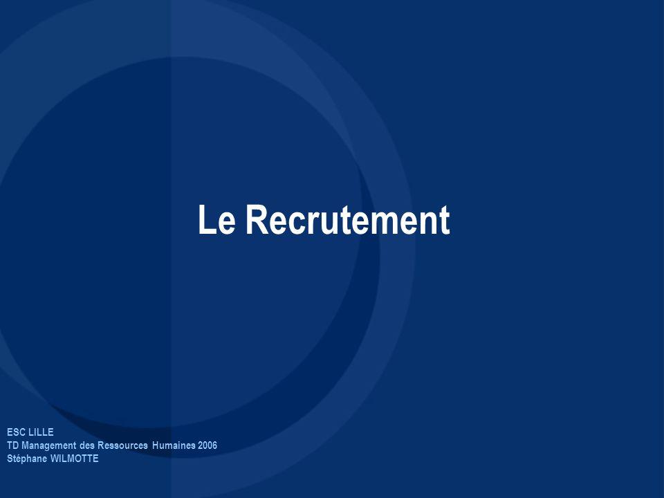 ESC LILLE TD Management des Ressources Humaines 2006 Stéphane WILMOTTE Le Recrutement