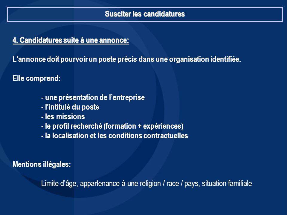 Susciter les candidatures 4. Candidatures suite à une annonce: L'annonce doit pourvoir un poste précis dans une organisation identifiée. Elle comprend