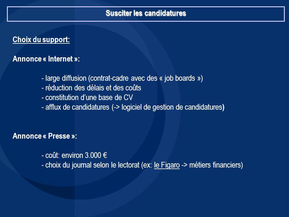 Susciter les candidatures Choix du support: Annonce « Internet »: - large diffusion (contrat-cadre avec des « job boards ») - réduction des délais et