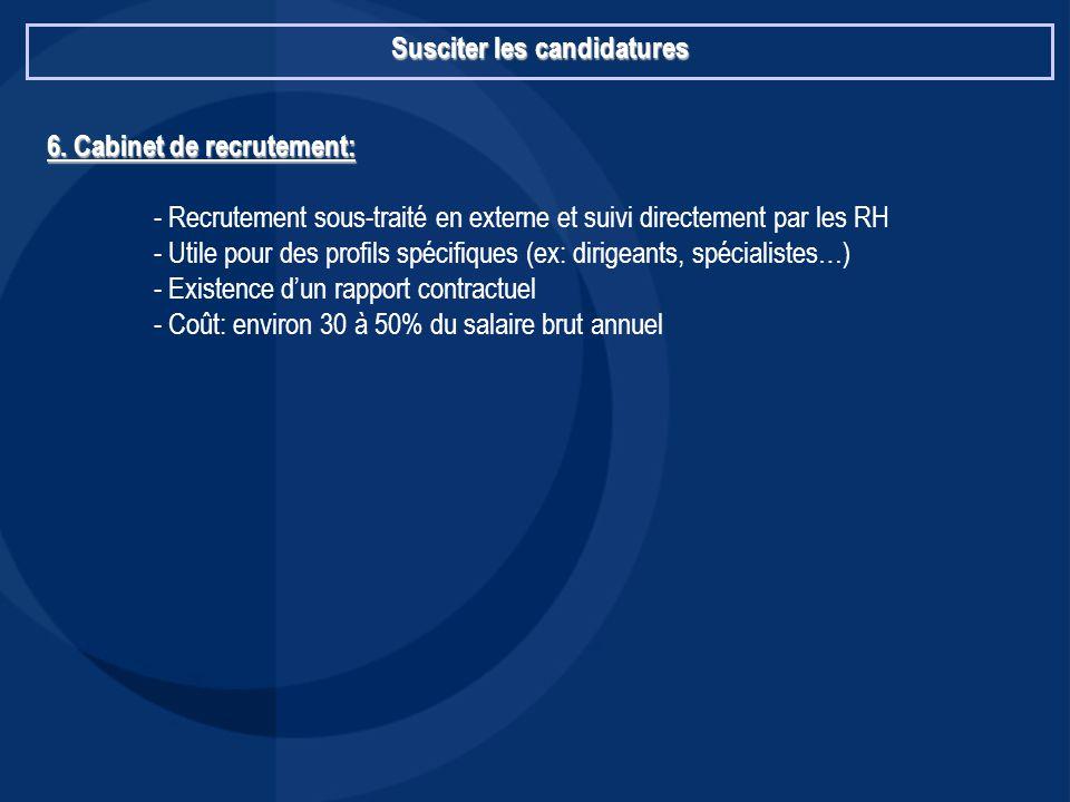 Susciter les candidatures 6. Cabinet de recrutement: - Recrutement sous-traité en externe et suivi directement par les RH - Utile pour des profils spé