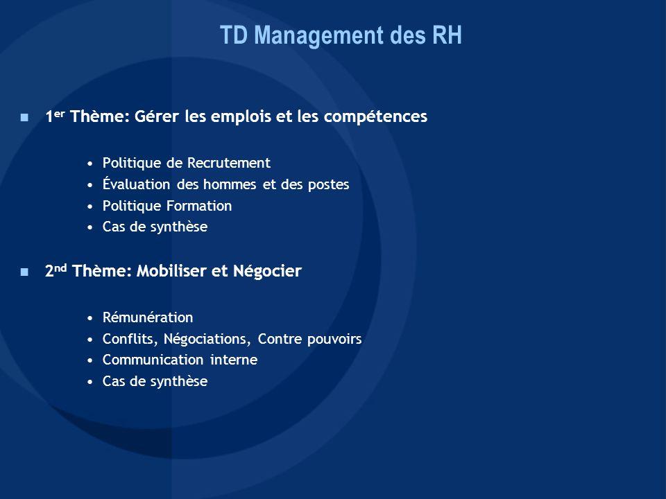 1 er Thème: Gérer les emplois et les compétences Politique de Recrutement Évaluation des hommes et des postes Politique Formation Cas de synthèse 2 nd