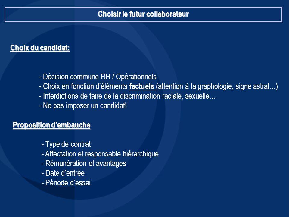 Choisir le futur collaborateur Choix du candidat: - Décision commune RH / Opérationnels - Choix en fonction d'éléments factuels (attention à la grapho