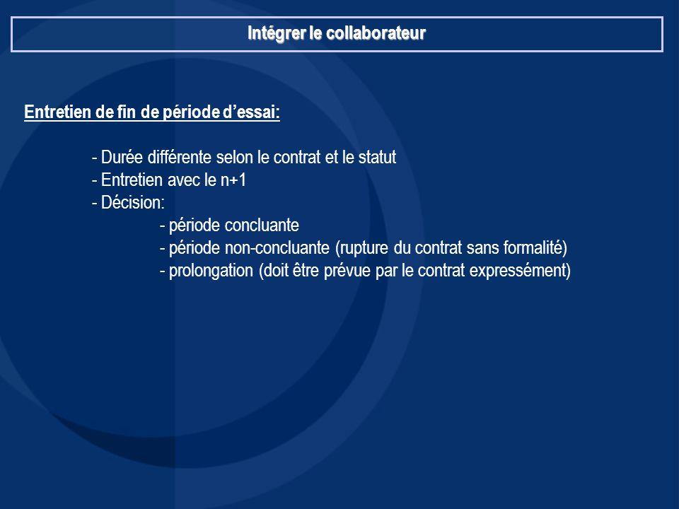 Intégrer le collaborateur Entretien de fin de période d'essai: - Durée différente selon le contrat et le statut - Entretien avec le n+1 - Décision: -