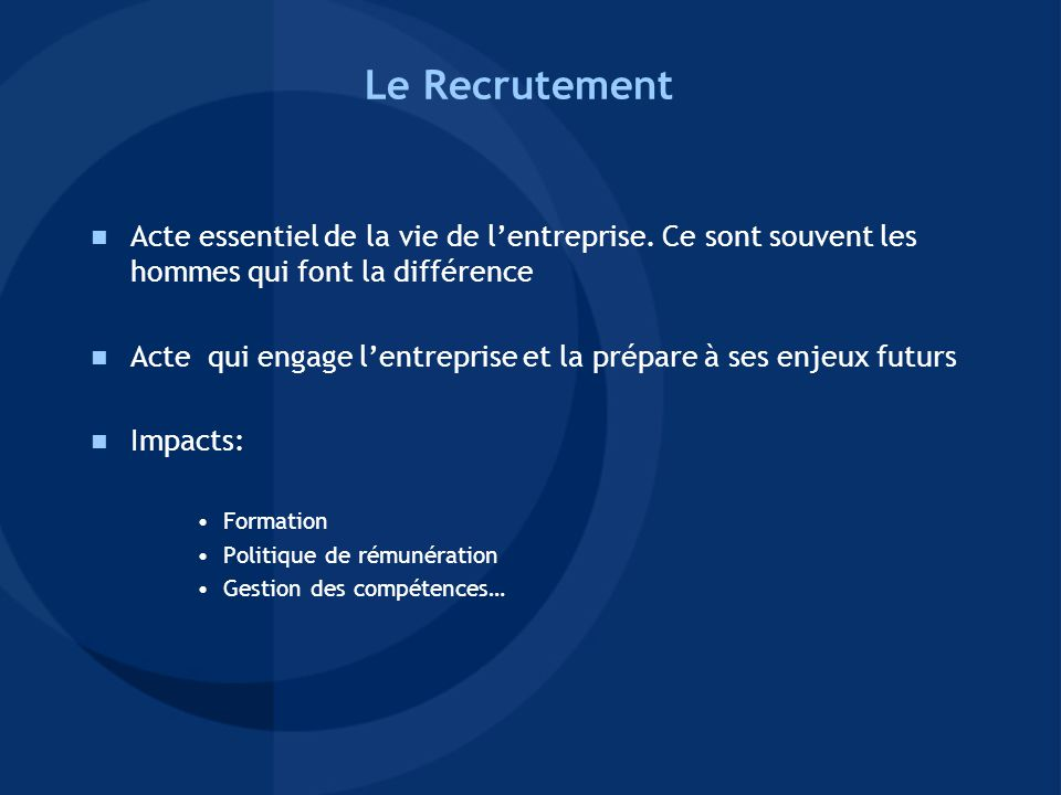 Indicateurs de l'efficacité du Service Recrutement - Nombre de recrutement par qualification et métier / plan de recrutement annuel - Nombre de recrutement de profils multi-culturels - Nombre de période d'essai non-concluante (+ analyse) - Turn-over des collaborateurs < 2 ans d'ancienneté - Nombre de stagiaires embauchés - Durée entre la demande de personnel et l'intégration du collaborateur -> Impacts sur le salaire moyen annuel, la pyramide des âges (effet de noria), niveau de compétences…