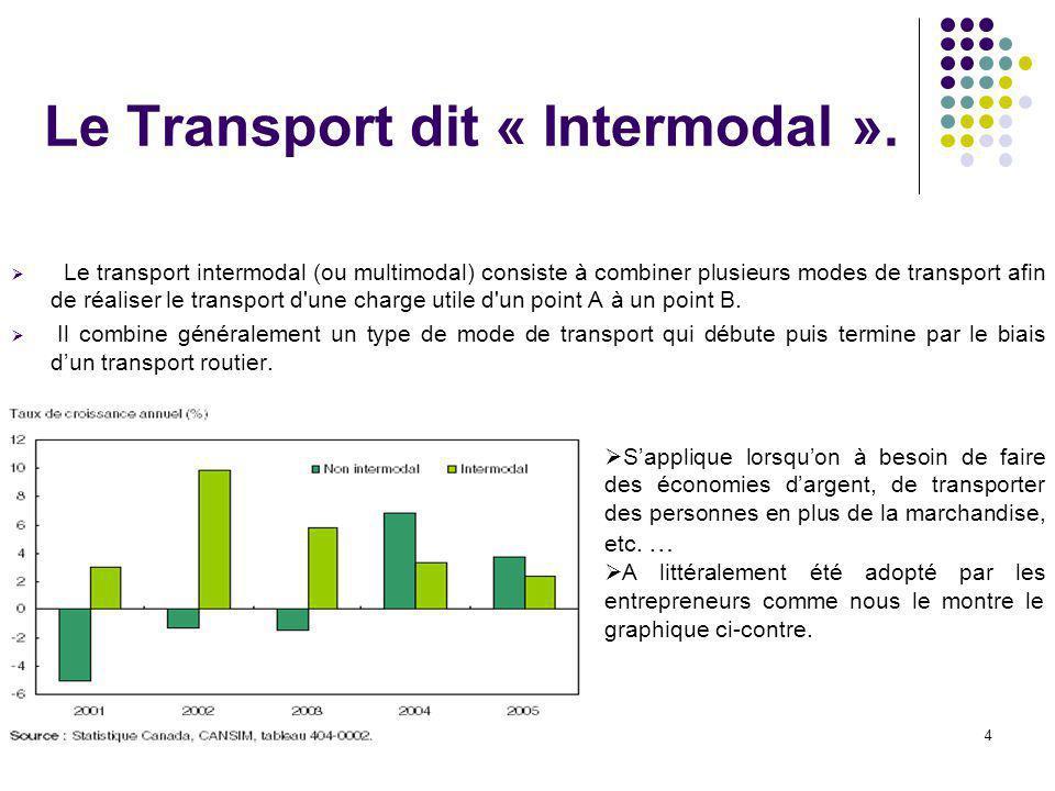 4 Le Transport dit « Intermodal ».  Le transport intermodal (ou multimodal) consiste à combiner plusieurs modes de transport afin de réaliser le tran