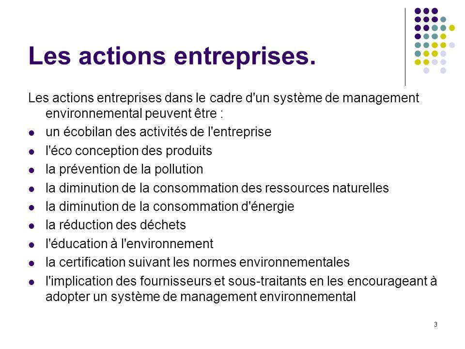3 Les actions entreprises. Les actions entreprises dans le cadre d'un système de management environnemental peuvent être : un écobilan des activités d