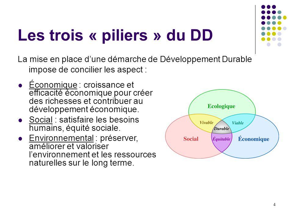 4 Les trois « piliers » du DD La mise en place d'une démarche de Développement Durable impose de concilier les aspect : Économique : croissance et eff