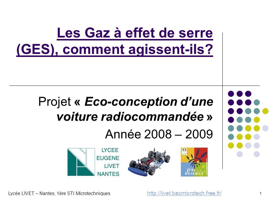 1 Les Gaz à effet de serre (GES), comment agissent-ils? Projet « Eco-conception d'une voiture radiocommandée » Année 2008 – 2009 Lycée LIVET – Nantes,