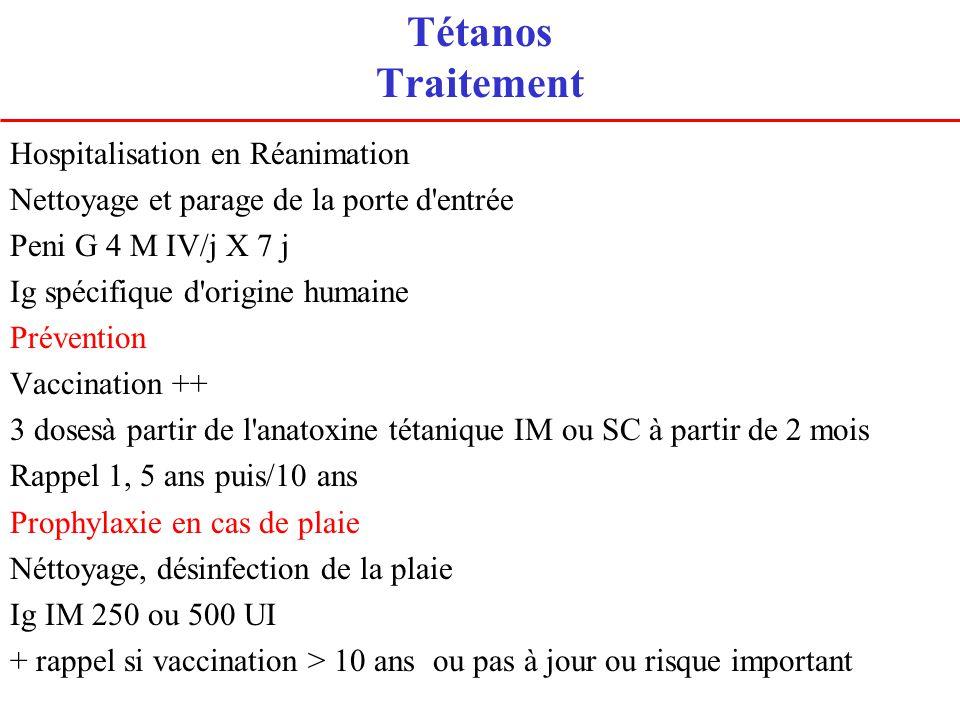 Tétanos Traitement Hospitalisation en Réanimation Nettoyage et parage de la porte d'entrée Peni G 4 M IV/j X 7 j Ig spécifique d'origine humaine Préve