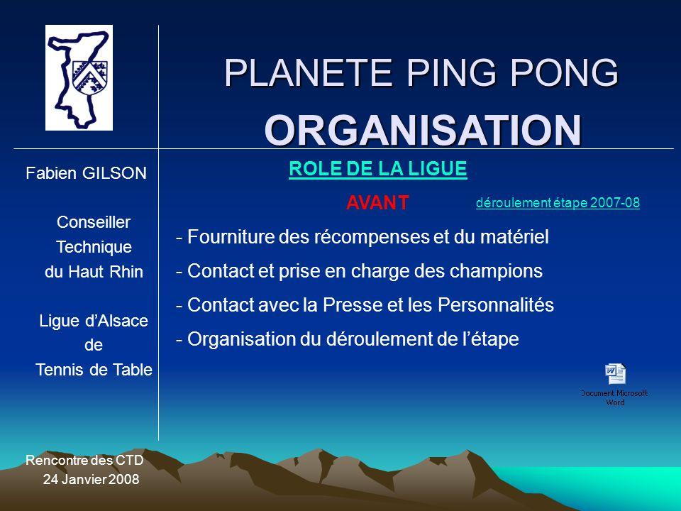 PLANETE PING PONG Fabien GILSON Conseiller Technique du Haut Rhin Ligue d'Alsace de Tennis de Table Rencontre des CTD 24 Janvier 2008 ORGANISATION ROL