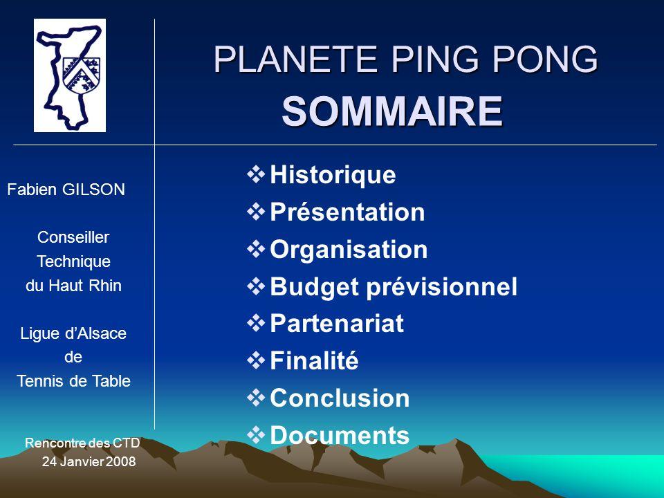 PLANETE PING PONG Rencontre des CTD 24 Janvier 2008 SOMMAIRE HHistorique PPrésentation OOrganisation BBudget prévisionnel PPartenariat FFi