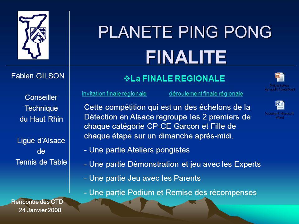 PLANETE PING PONG Fabien GILSON Conseiller Technique du Haut Rhin Ligue d'Alsace de Tennis de Table Rencontre des CTD 24 Janvier 2008 FINALITE  La FI