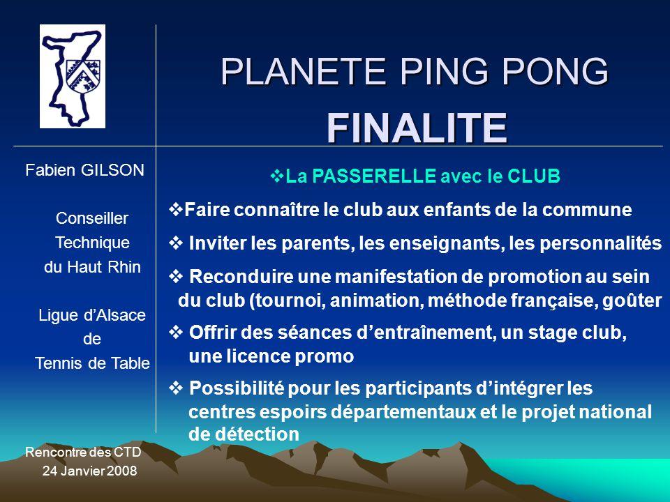 PLANETE PING PONG Fabien GILSON Conseiller Technique du Haut Rhin Ligue d'Alsace de Tennis de Table Rencontre des CTD 24 Janvier 2008 FINALITE  La PA