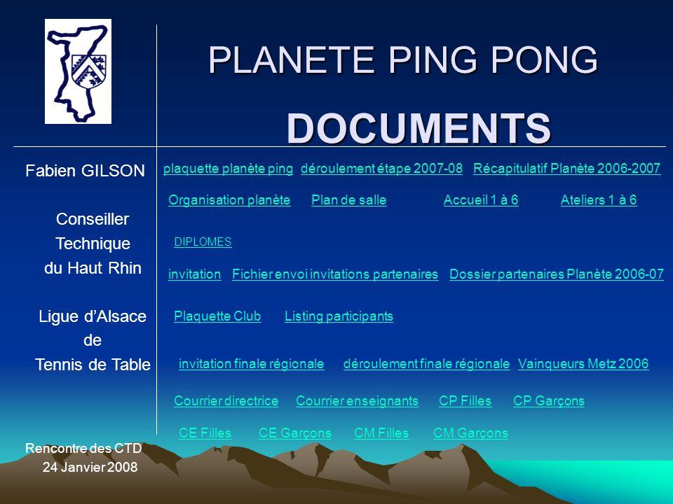 PLANETE PING PONG Fabien GILSON Conseiller Technique du Haut Rhin Ligue d'Alsace de Tennis de Table Rencontre des CTD 24 Janvier 2008 DOCUMENTS plaque