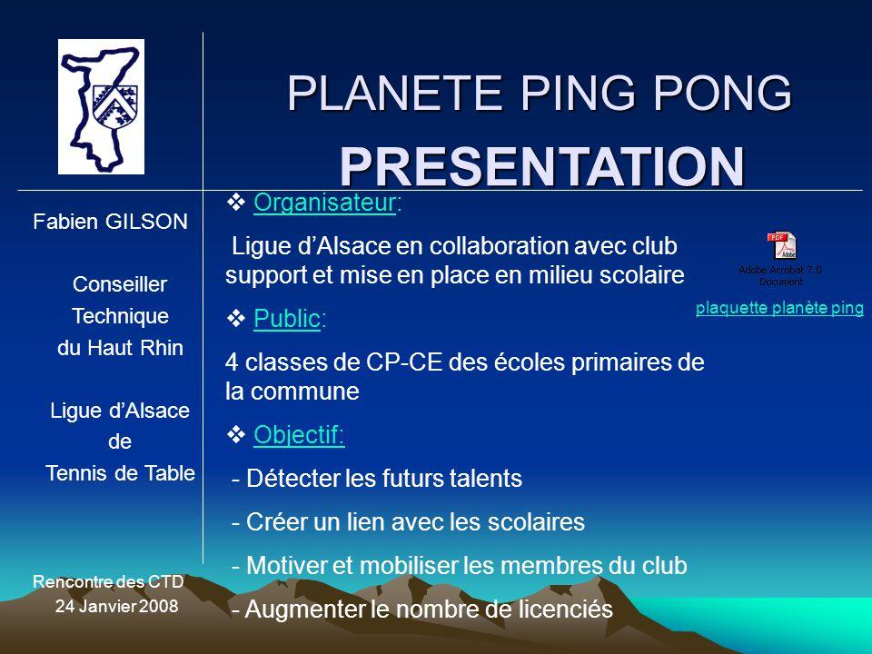 PLANETE PING PONG Fabien GILSON Conseiller Technique du Haut Rhin Ligue d'Alsace de Tennis de Table Rencontre des CTD 24 Janvier 2008 PRESENTATION  Configuration: Installation de la Salle Plan de salle