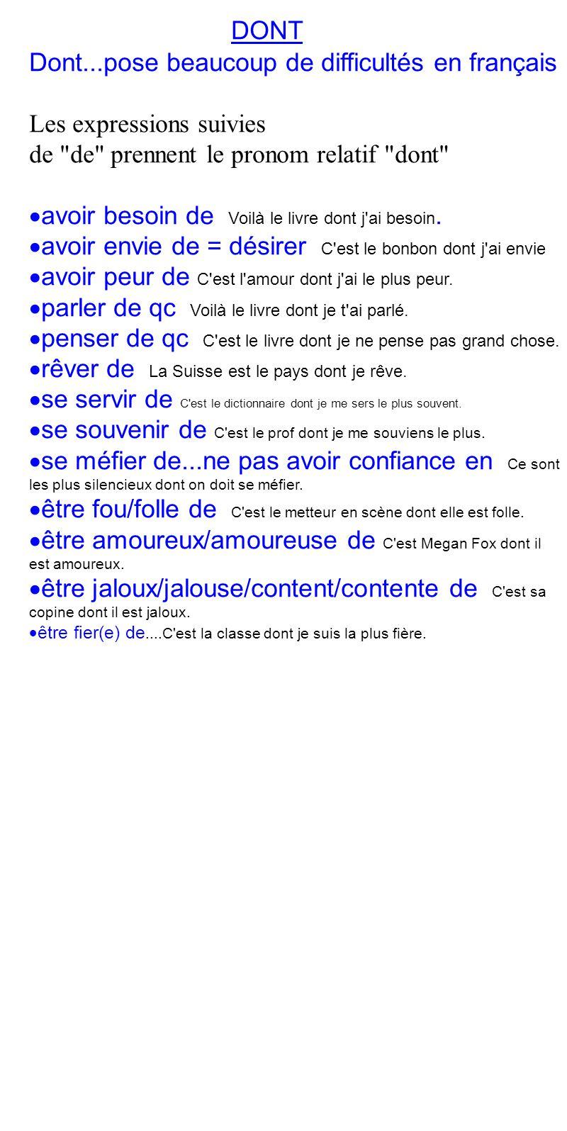 DONT Dont...pose beaucoup de difficultés en français Les expressions suivies de