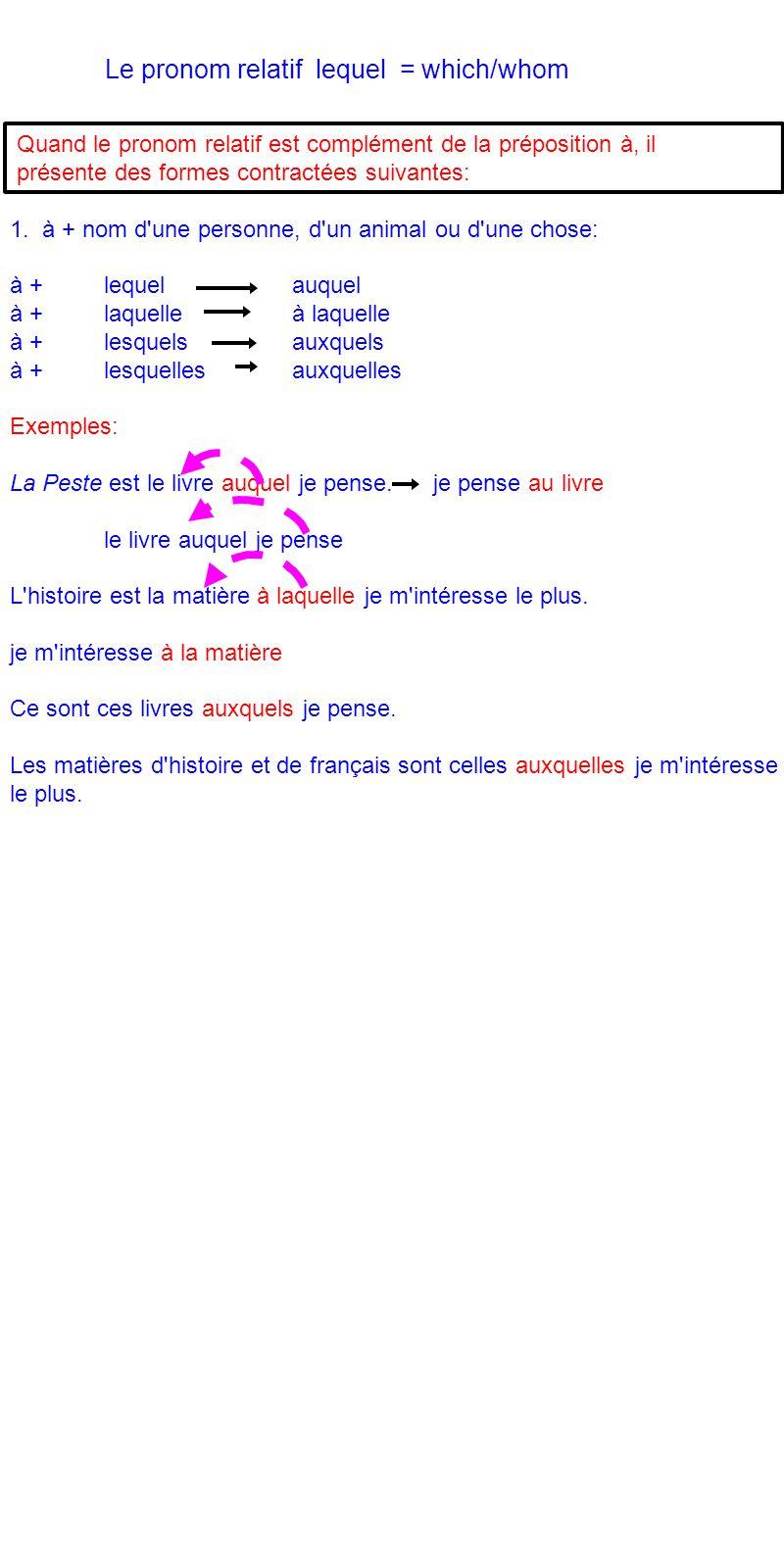 Le pronom relatif lequel = which/whom Quand le pronom relatif est complément de la préposition à, il présente des formes contractées suivantes: 1. à +