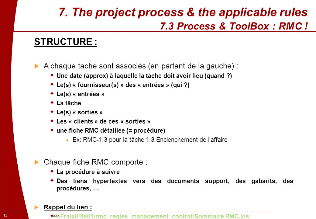 xxx 15 7. The project process & the applicable rules 7.3 Process & ToolBox : RMC ! STRUCTURE :  A chaque tache sont associés (en partant de la gauche