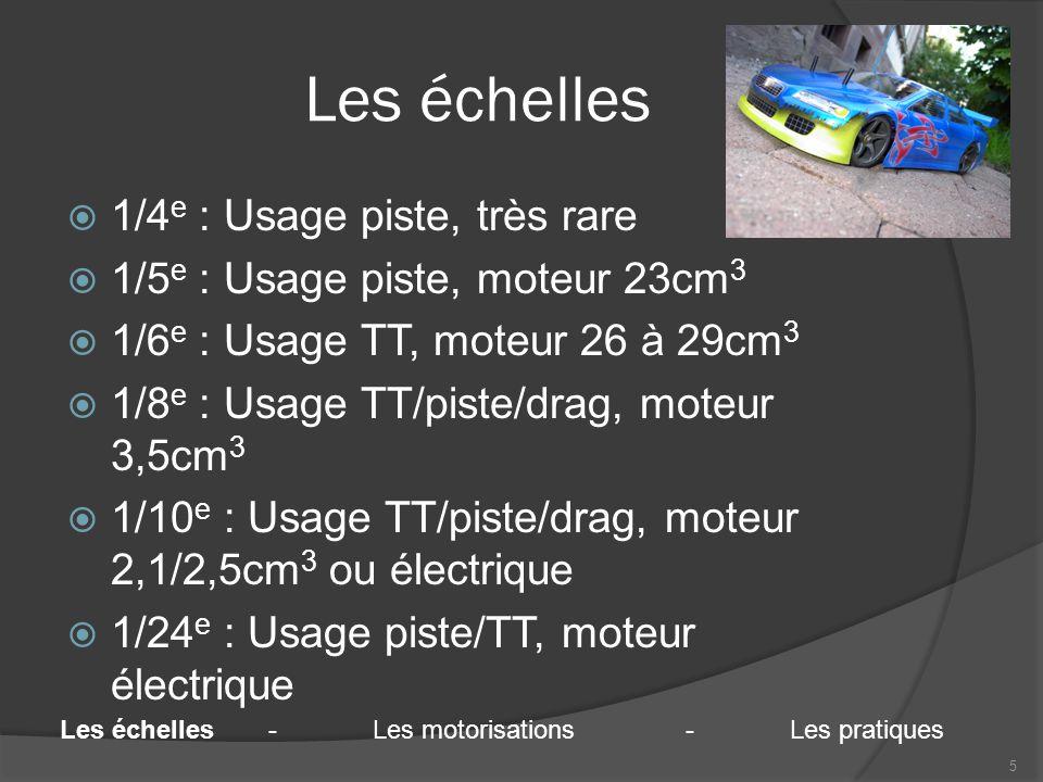 Les échelles  1/4 e : Usage piste, très rare  1/5 e : Usage piste, moteur 23cm 3  1/6 e : Usage TT, moteur 26 à 29cm 3  1/8 e : Usage TT/piste/drag, moteur 3,5cm 3  1/10 e : Usage TT/piste/drag, moteur 2,1/2,5cm 3 ou électrique  1/24 e : Usage piste/TT, moteur électrique 5 Les échelles-Les motorisations-Les pratiques