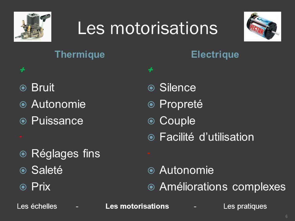Les motorisations ThermiqueElectrique +  Bruit  Autonomie  Puissance -  Réglages fins  Saleté  Prix +  Silence  Propreté  Couple  Facilité d'utilisation -  Autonomie  Améliorations complexes 6 Les échelles-Les motorisations-Les pratiques