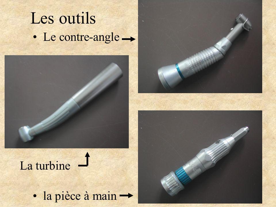 Les outils Le contre-angle la pièce à main La turbine