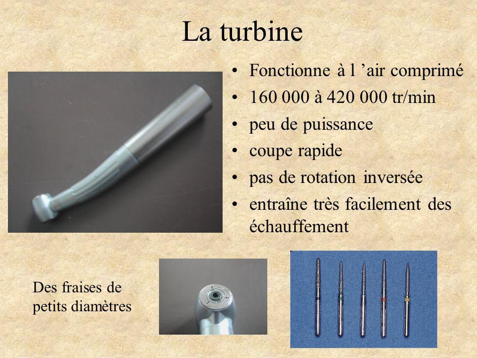 Fonctionne à l 'air comprimé 160 000 à 420 000 tr/min peu de puissance coupe rapide pas de rotation inversée entraîne très facilement des échauffement