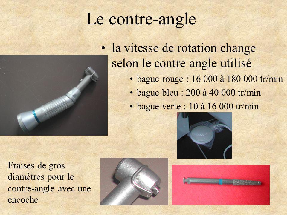 Le contre-angle la vitesse de rotation change selon le contre angle utilisé bague rouge : 16 000 à 180 000 tr/min bague bleu : 200 à 40 000 tr/min bag