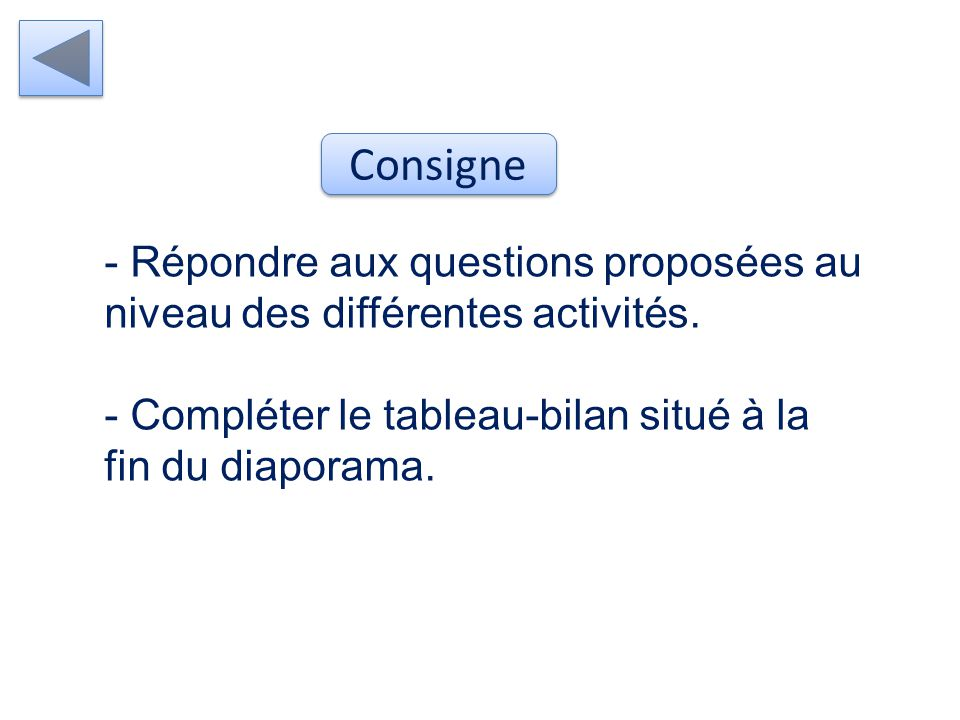 - Répondre aux questions proposées au niveau des différentes activités.
