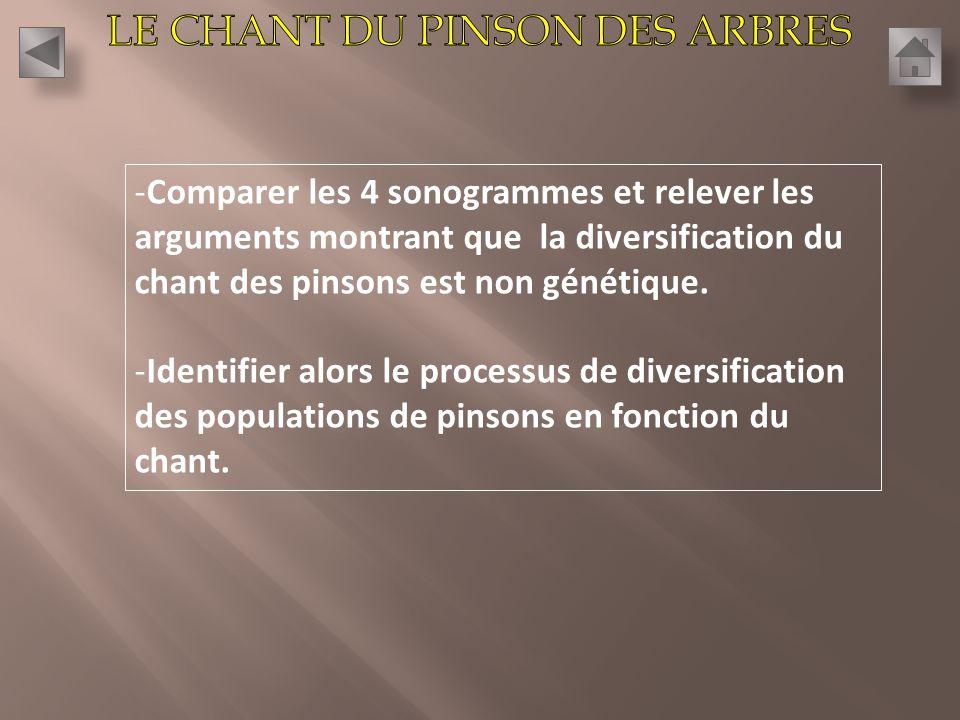-Comparer les 4 sonogrammes et relever les arguments montrant que la diversification du chant des pinsons est non génétique.