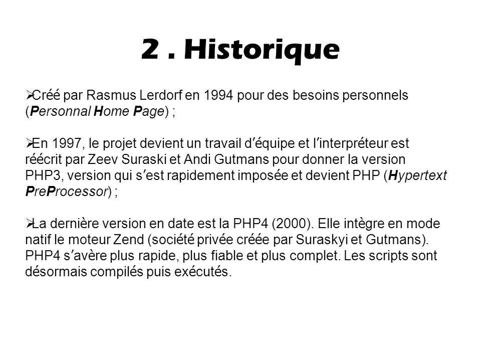 2. Historique  Cr éé par Rasmus Lerdorf en 1994 pour des besoins personnels (Personnal Home Page) ;  En 1997, le projet devient un travail d 'é quip