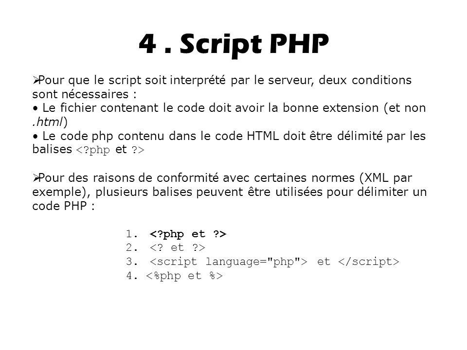 4. Script PHP  Pour que le script soit interpr é t é par le serveur, deux conditions sont n é cessaires : Le fichier contenant le code doit avoir la