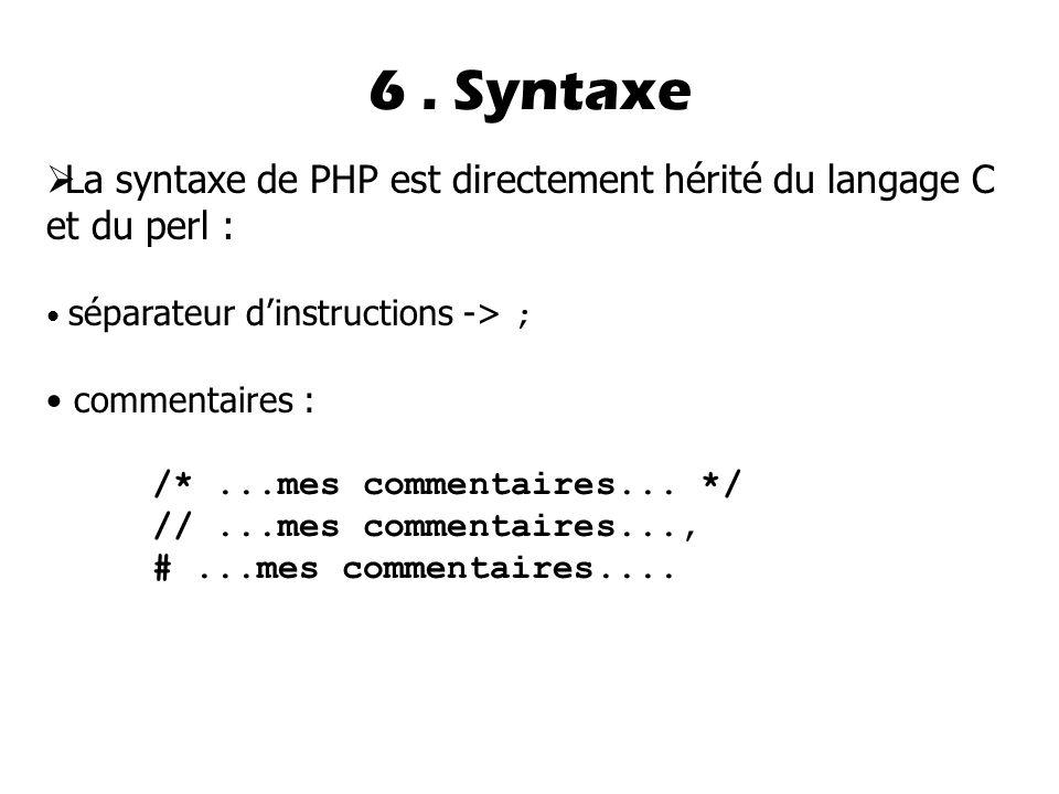  La syntaxe de PHP est directement hérité du langage C et du perl : séparateur d'instructions -> ; commentaires : /*...mes commentaires...
