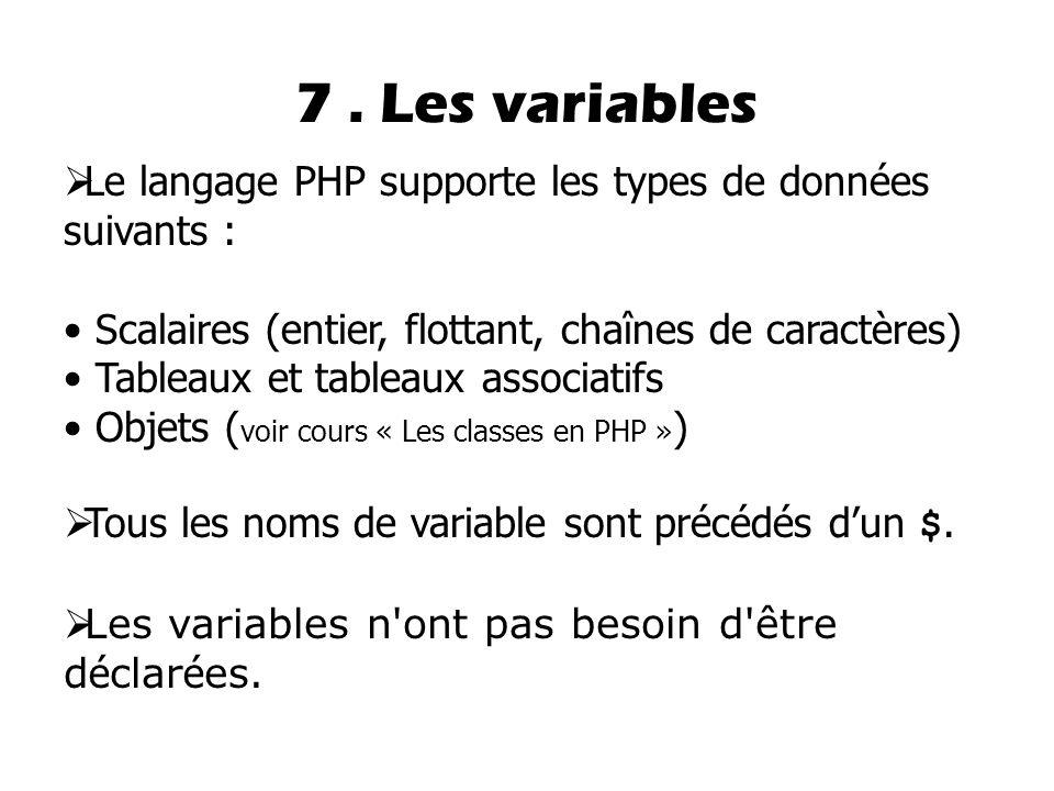 7. Les variables  Le langage PHP supporte les types de données suivants : Scalaires (entier, flottant, chaînes de caractères) Tableaux et tableaux as