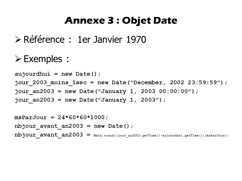  Référence : 1er Janvier 1970  Exemples : aujourdhui = new Date(); jour_2003_moins_1sec = new Date(