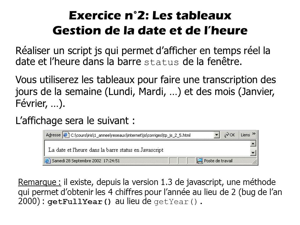 Réaliser un script js qui permet d'afficher en temps réel la date et l'heure dans la barre status de la fenêtre. Vous utiliserez les tableaux pour fai
