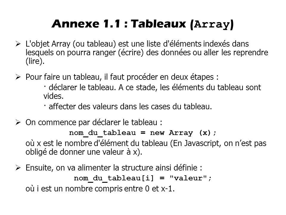  L'objet Array (ou tableau) est une liste d'éléments indexés dans lesquels on pourra ranger (écrire) des données ou aller les reprendre (lire).  Pou