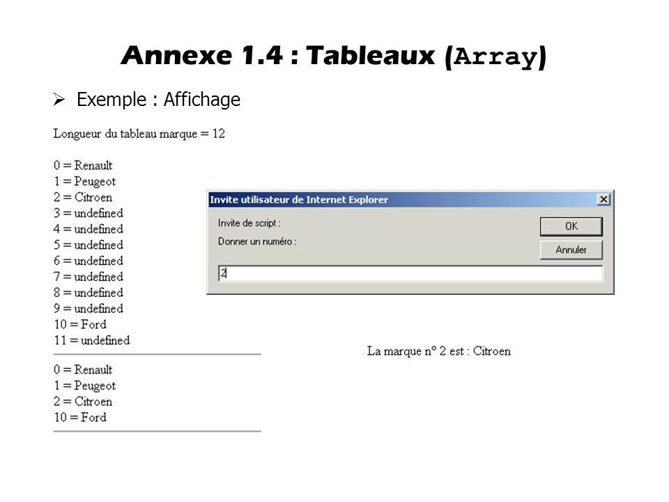  Exemple : Affichage Annexe 1.4 : Tableaux ( Array )