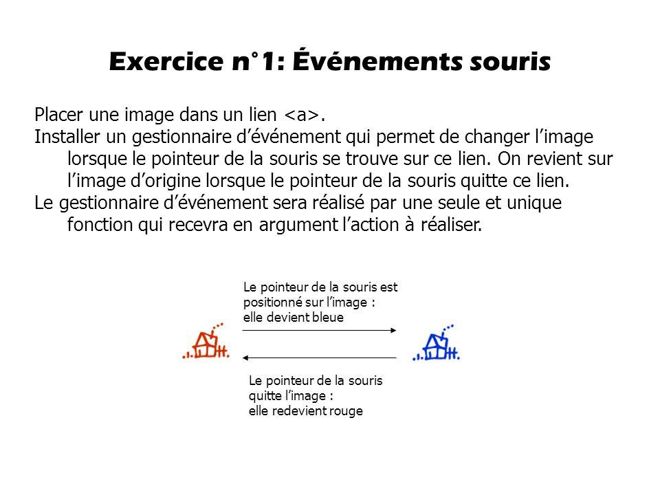 Exercice n°1: Événements souris Placer une image dans un lien.
