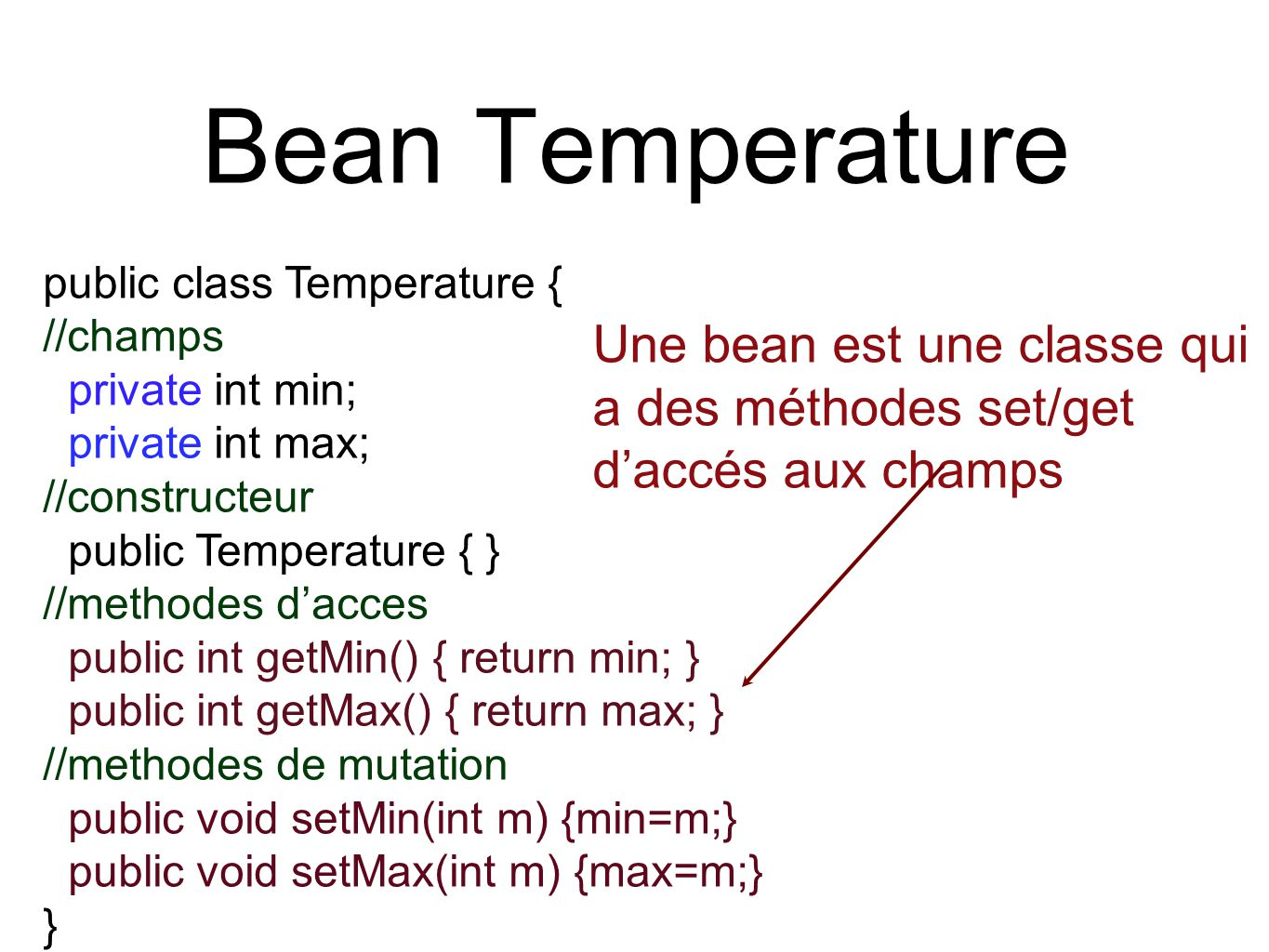 Bean Temperature public class Temperature { //champs private int min; private int max; //constructeur public Temperature { } //methodes d'acces public