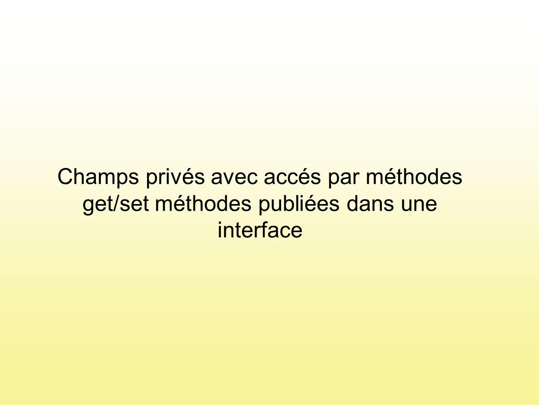 Champs privés avec accés par méthodes get/set méthodes publiées dans une interface