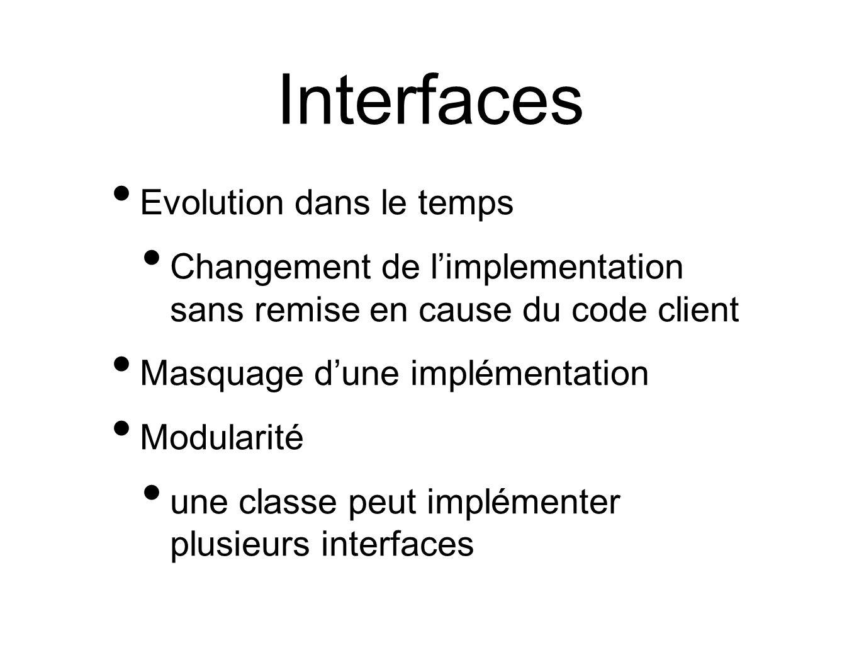 Interfaces Evolution dans le temps Changement de l'implementation sans remise en cause du code client Masquage d'une implémentation Modularité une classe peut implémenter plusieurs interfaces