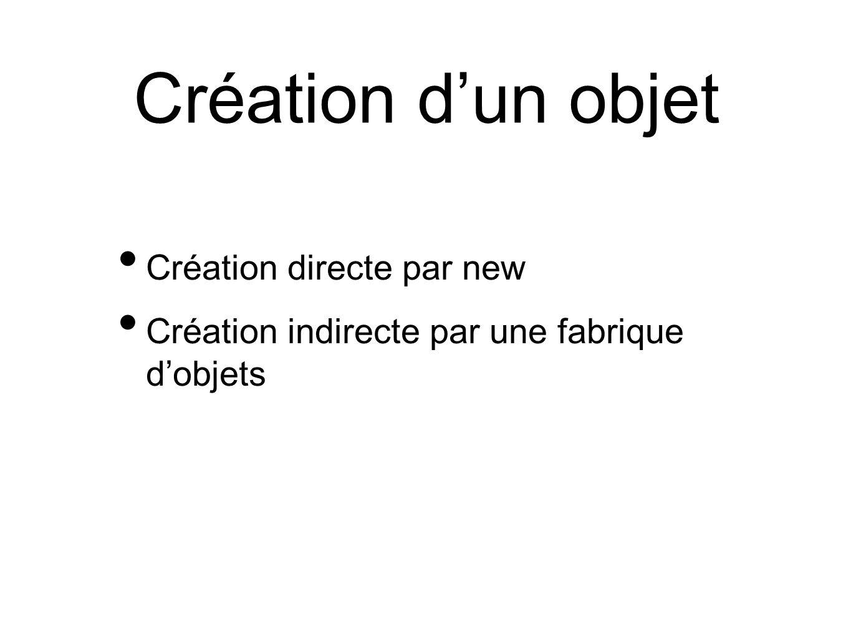 Création directe par new Création indirecte par une fabrique d'objets Création d'un objet